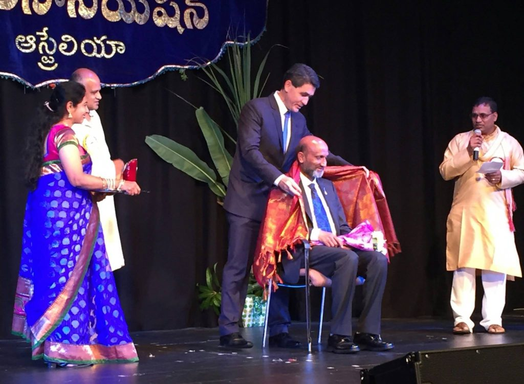"""""""It was a privilege to recognise Professor Jagadish AC for his Australia Day Honours Award....the Australian Telugu community is proud of your achievements"""""""